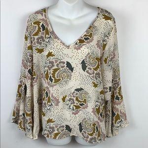 Kenar shirt size blouse floral Bell Sleeve